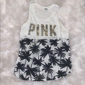 White Palm Tree Pink Tank Top